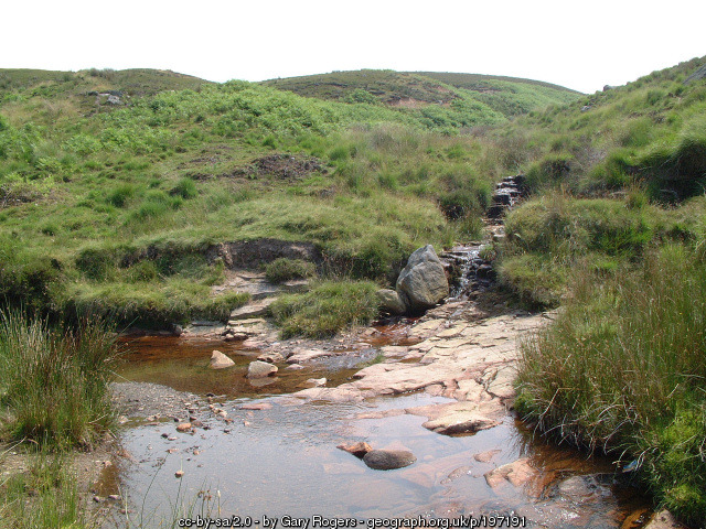 You can see here the main leg of Black Brook on the left, and the feeder stream from Round Loaf on the right.