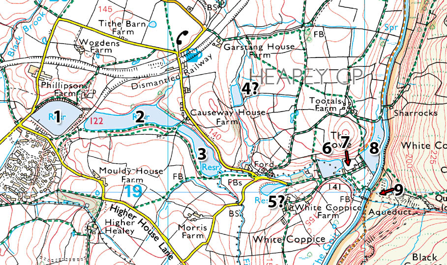There is evidence of nine lodges (or reservoirs) at Heapey.