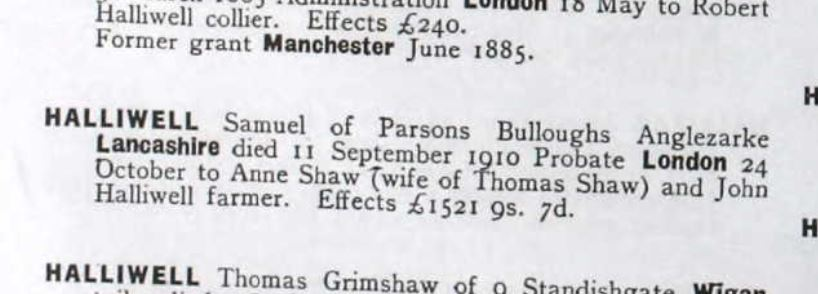 The above section is taken from the England & Wales National Probate Calendar (Index of Wills and Administrations), 1858-1966.