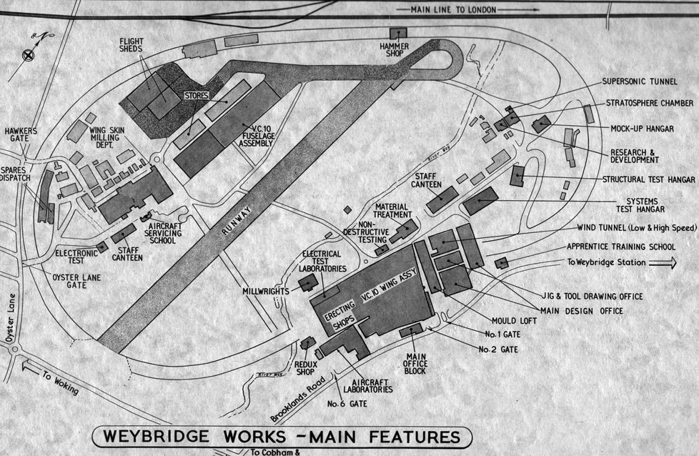 The Vickers Weybridge works, where the aircraft was built.