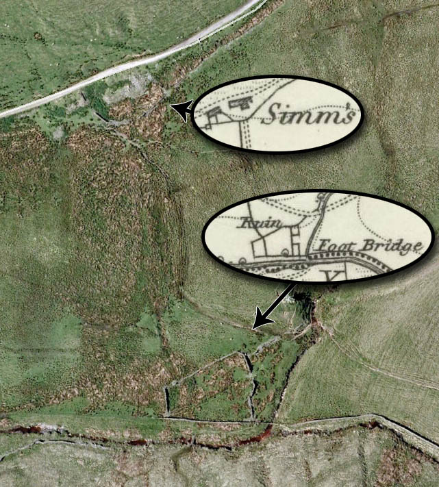 Simm's as shown on OS mapping in its later location, and also discovered as the unmarked ruin near the river bank. Perhaps the older ruin is in better condition due to it disappearing from mapping?