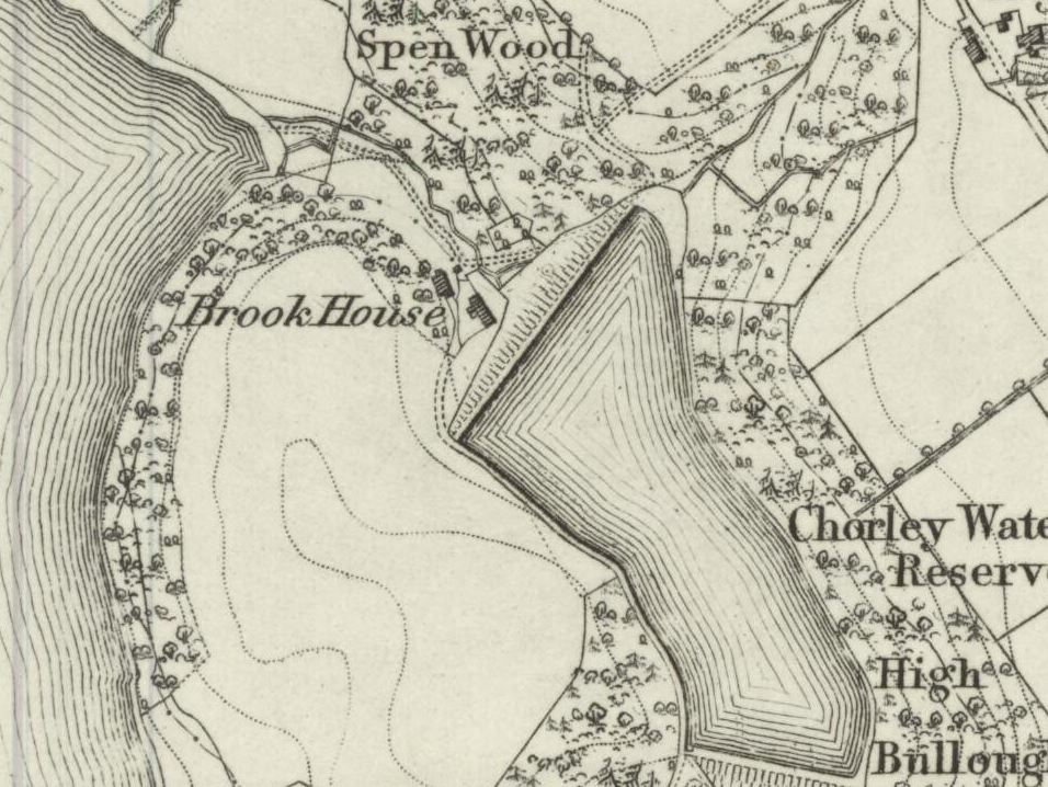 Brook House was still standing in 1868, despite being in the midst of all the reservoir activities.