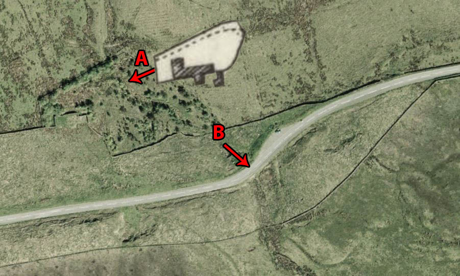 """A"" shows the old layout on new mapping.  ""B"" shows the spot where an accident occurred in years gone by."