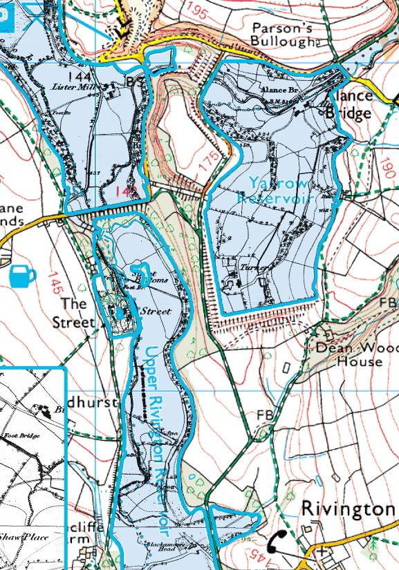 This composite map shows beneath the reservoirs, where you can see the old river lines of the Yarrow and Black Brook.