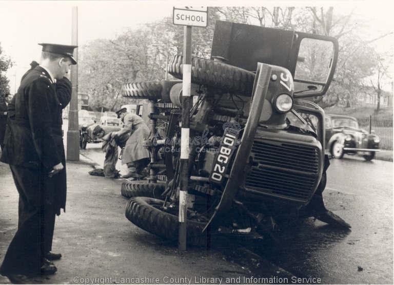 Old news footage of a fatal crash at Yarrow Bridge on the A6.