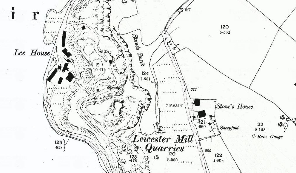 OS First Edition 2500 mapping showing Lee House (The Clog Inn) and Stones House.