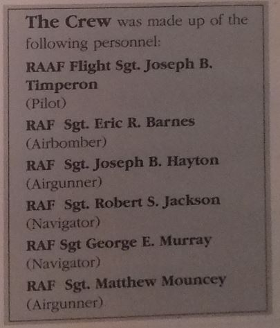 The names of the crew of the ill-fated aircraft.